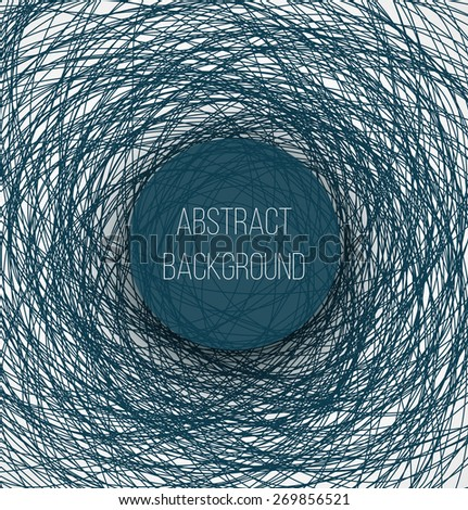 Abstract blue chaotic sketch lines background and circle banner with shadow. Vector illustrtion - stock vector