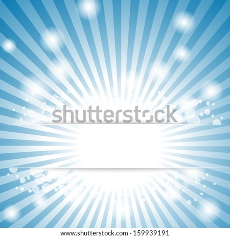 abstract blue christmas background with rays and snowflakes
