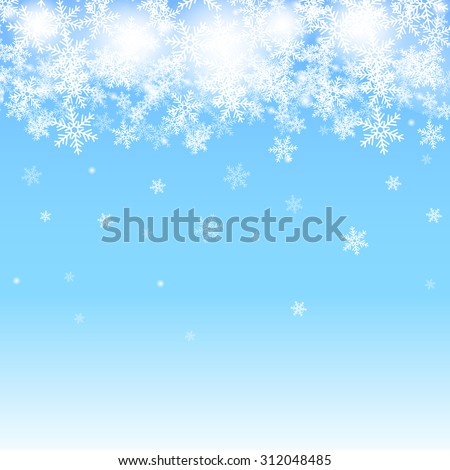 Abstract blue Christmas background with white snowflakes - stock vector
