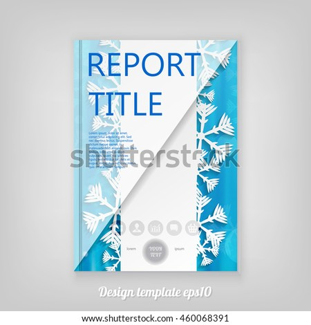 Abstract blue Christmas cover design with snowflakes, Brochure Design. Cover, Corporate Leaflet Template - stock vector