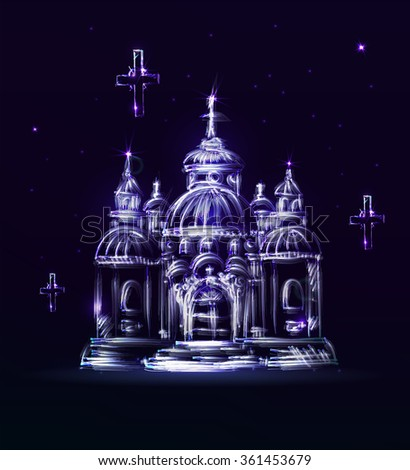 Abstract blue Church on a dark background in vector. Painted church with stars and shine. Hand drawn abstract temple - stock vector