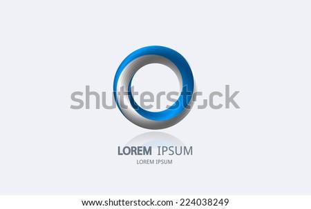Abstract blue circle logo. Vector logotype design. - stock vector