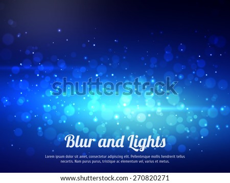Abstract blue colorful bokeh background. Festive background with defocused lights. Magical background with colorful bokeh. - stock vector
