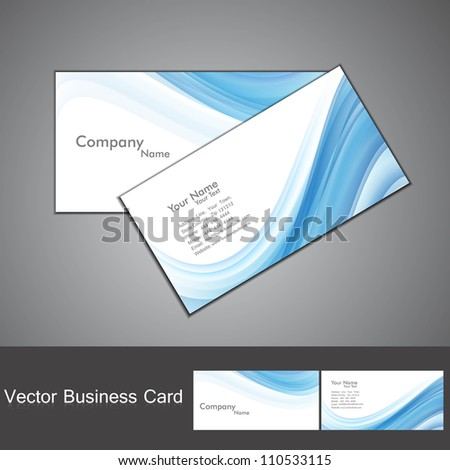 abstract blue colorful wave business card set - stock vector