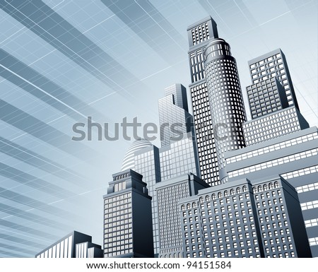 Abstract blue corporate city skyscraper business background - stock vector