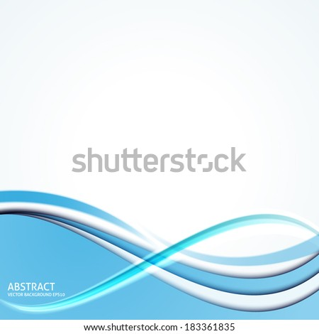 Abstract Blue Curves Background Vector - Design Template - stock vector
