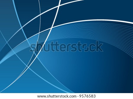 Abstract blue curves background with wave pattern - stock vector