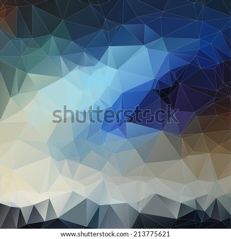 Abstract blue 2D polygonal background. Triangles background for your design - stock vector