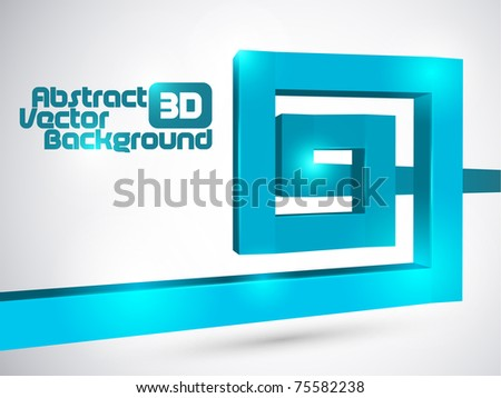 Abstract blue 3D square spiral background - stock vector