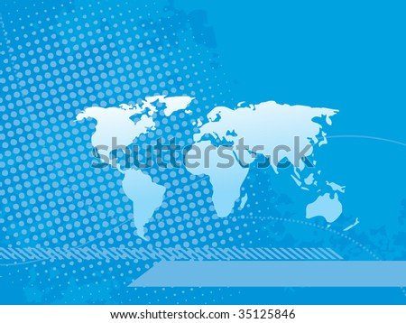 abstract blue dotted background with map illustration