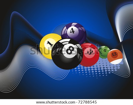 abstract blue dotted, wave background with colorful billiard balls - stock vector
