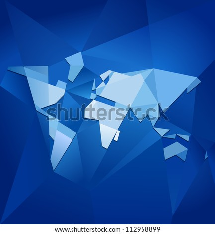 Abstract blue facet world map vector. Business theme. - stock vector