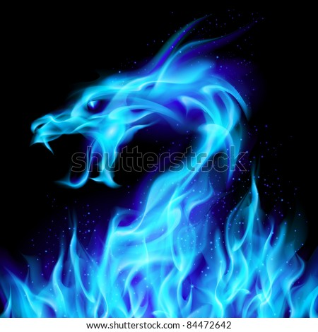 Abstract blue fiery dragon. Illustration number two on black background for design - stock vector