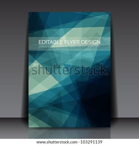 Abstract blue flyer vector template - stock vector
