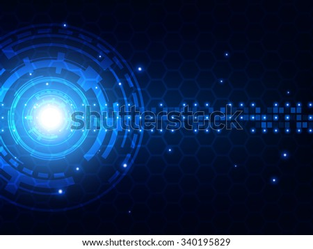 Abstract blue futuristic digital technology background - stock vector