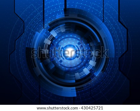 Abstract blue futuristic digital technology background. Vector illustration EPS10 - stock vector