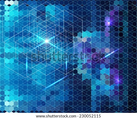 Abstract blue geometric background with glow Eps 10. - stock vector