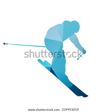 Abstract blue geometric downhill skier - stock vector