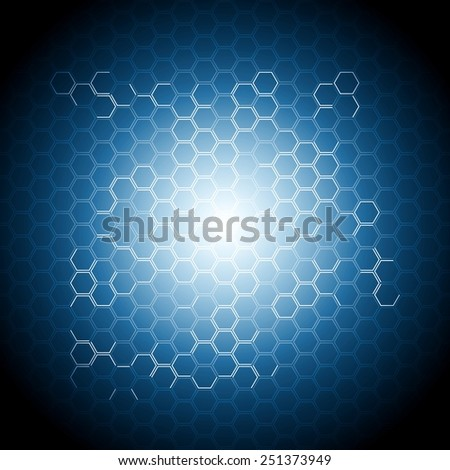 Abstract blue geometry background with hexagons. Vector design - stock vector