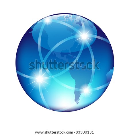 Abstract Blue Globe, Isolated On White Background, Vector Illustration - stock vector