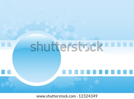 Abstract blue glossy  vector design illustration with sphere, film and stars - stock vector