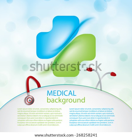 Abstract blue green medical pharmacy cign molecules background  - stock vector