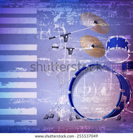 abstract blue grunge background with drum kit - stock vector
