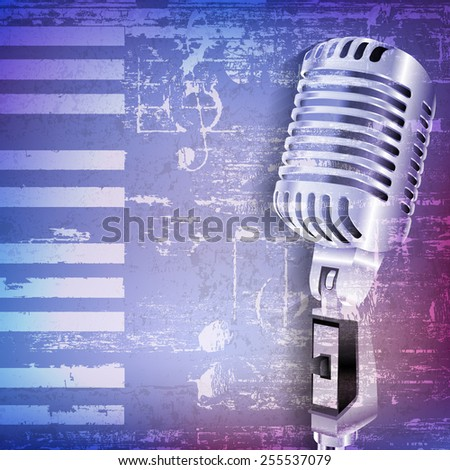 abstract blue grunge piano background with retro microphone - stock vector