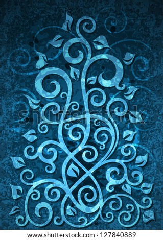 Abstract blue grunge vector floral illustration.