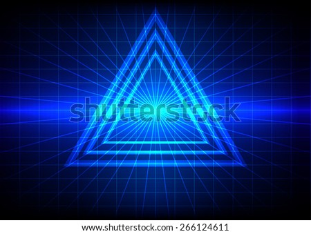 abstract blue light flare and triangle effect background - stock vector