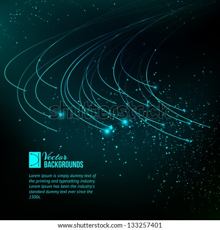 abstract blue lights background. Vector illustration, contains transparencies, gradients and effects. - stock vector