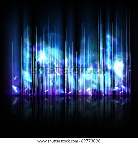 Abstract blue lines background with reflection. Vector eps10 illustration - stock vector
