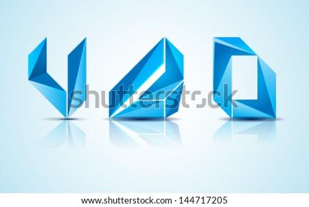 Abstract blue logo icons - stock vector