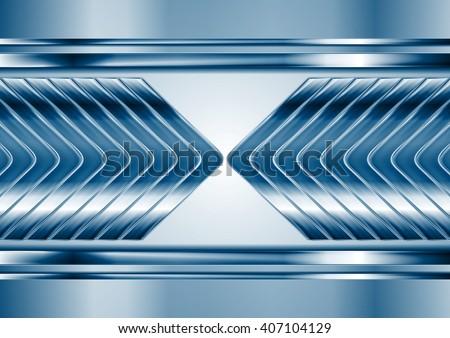 Abstract blue metal tech arrows background. Vector chrome technology design - stock vector