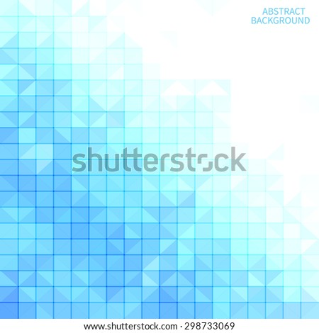 Abstract blue mosaic background with white copyspace area