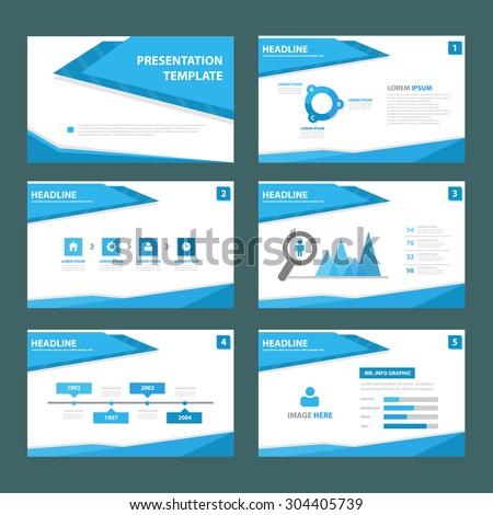 Abstract Blue multipurpose presentation brochure flyer template flat design set  - stock vector