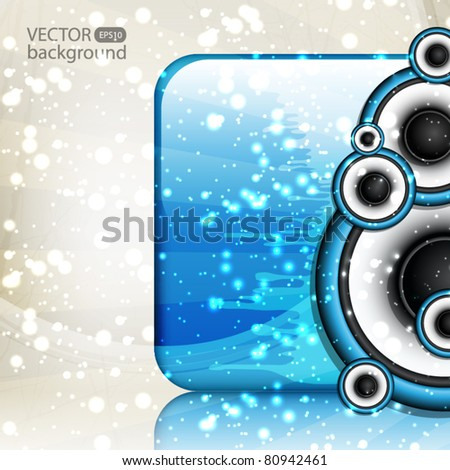 Abstract blue music background - stock vector