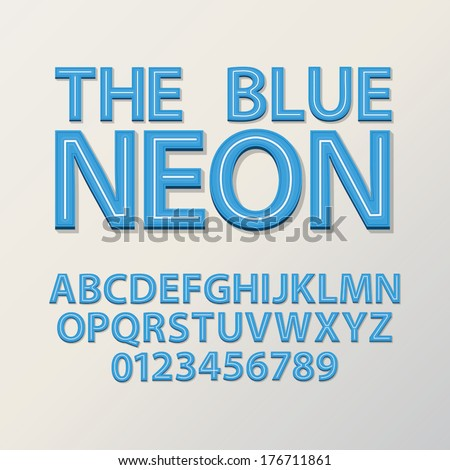 Abstract Blue Neon Font and Numbers, Eps 10 Vector - stock vector
