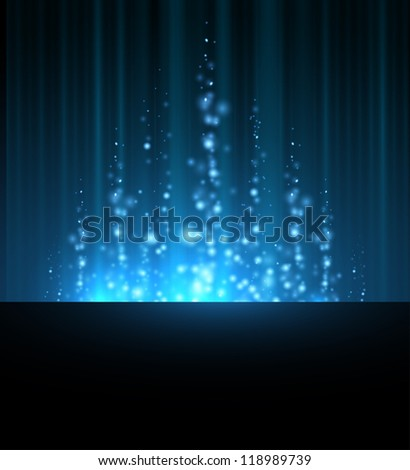 abstract blue north shining star blurred lines background. dark sky - stock vector