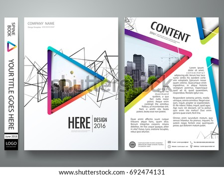 Abstract blue orange and green triangle on cover book presentation. Minimal brochure report business flyers magazine poster template. Portfolio design vector.