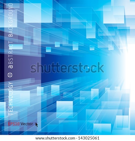 Abstract blue perspective technology background. - stock vector