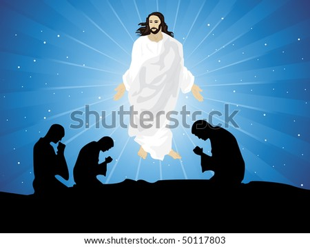abstract blue rays background with people praying to jesus - stock vector