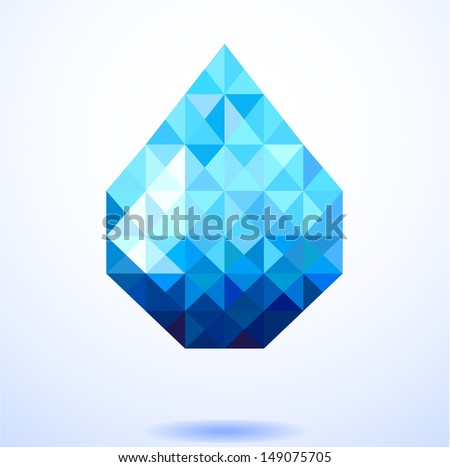 Abstract blue shiny drop of water background , creative concept  - stock vector