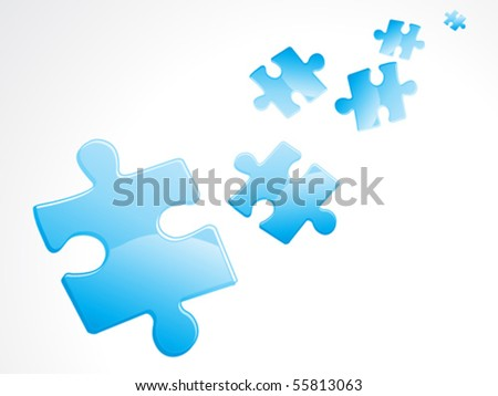 abstract blue shiny puzzles vector illustration - stock vector