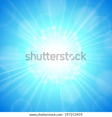 abstract blue sky and light ray pattern background (vector)