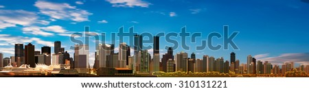 abstract blue sky background with panorama of city - stock vector
