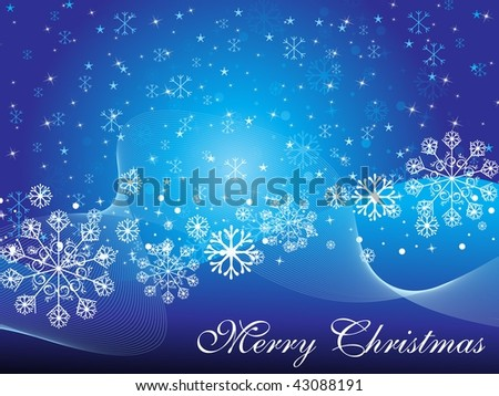 abstract blue snowflake background with curve wave, illustration