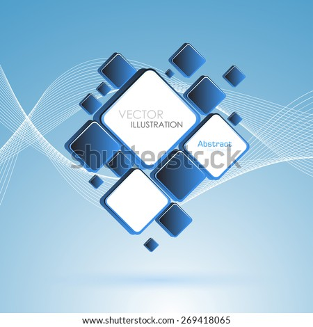 Abstract blue square background. Vector Illustration. Clip-art - stock vector