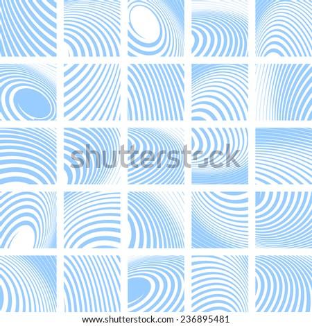 Abstract blue striped backdrops set. Vector art. - stock vector