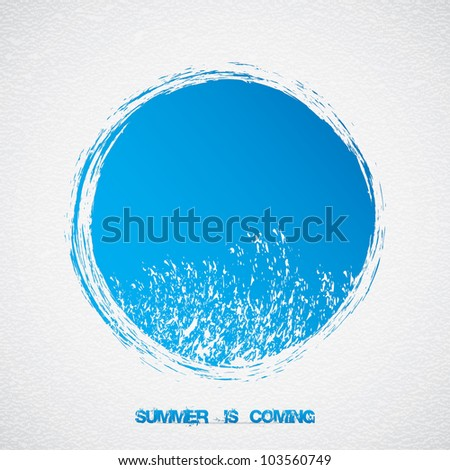 Abstract blue summer vector.Wave sign - stock vector
